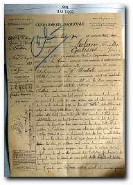 rapport de gendarmerie de 1932 suite au cambriolage subit par Noël Natali à Aullène
