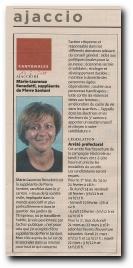 article de presse sur Marie Laurence Benedetti qui se présente aux élections cantonales