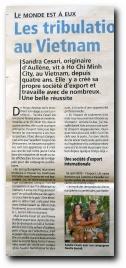 article sur Sandra Cesari d'Aullène, installée comme chef d'entreprise au Vietnam