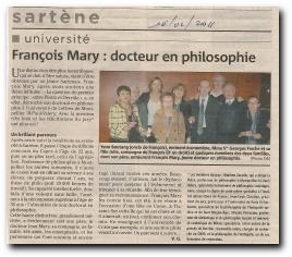 François Mary obtient son doctorat en philosophie