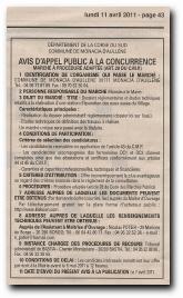 avis d'appel à la concurrence pour le marché de construction de la station d'épuration de Monacia