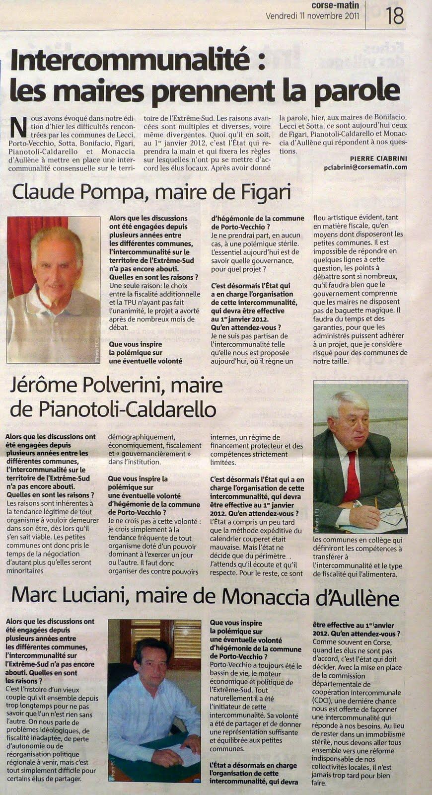 Monacia et intercommunalité